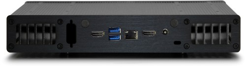 Rear view of the UltraNUC Pro 7 Fanless PC - Plato X7D, shown without Wi-Fi option
