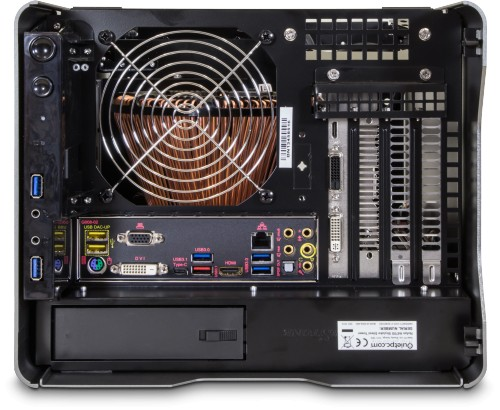 Top view, fitted with optional graphics card (previous generation motherboard)